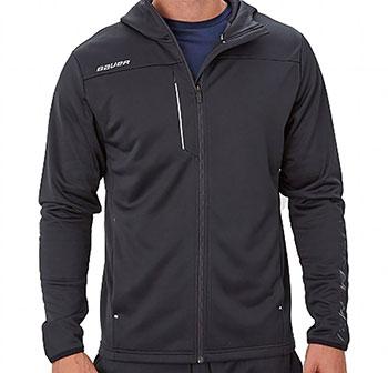 Bauer Zip Fleece Hoody Senior black hooded sweater