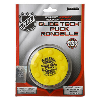 Franklin NHL Glide Tech Pro puck for road ice street yellow